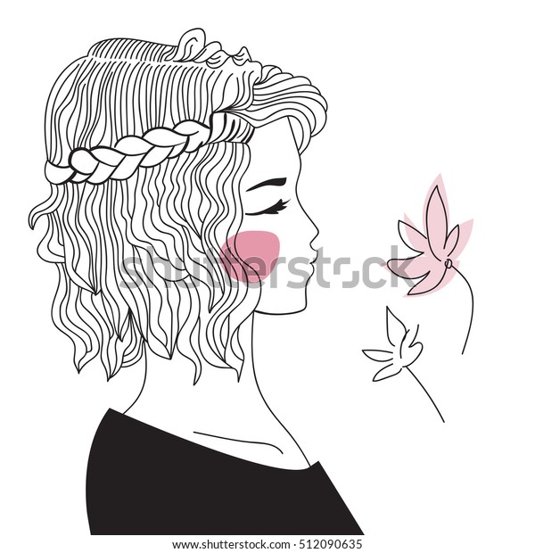 Girl Braided Hair Oblique Woman Face Stock Vector Royalty Free Rhshutterstock: Coloring Pages Girl With Long Hair At Baymontmadison.com