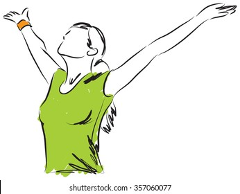 GIRL BREATHING FREEDOM ILLUSTRATION