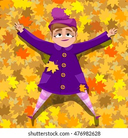 girl in bright clothes lying on the leaves. autumn time. Vector illustration