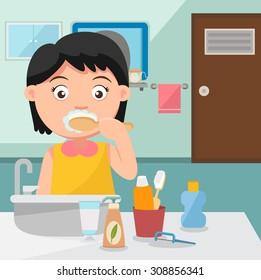 A girl brushing teeth in the bathroom.illustration,vector