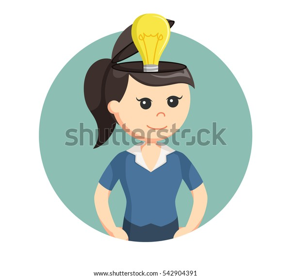 girl with bulb in her head
