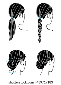 Girl bun Hairstyle Line drawing. Woman up do hairstyle Step by steps.