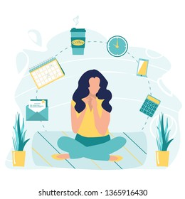 Girl or business woman doing yoga, get calm in office. Relax, meditation, good time management concept. Business yoga concept. Office process icons on background. Zen pose. Vector flat illustration.