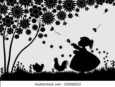 Girl with butterflies in the garden
