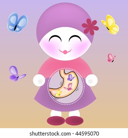Girl with Butterflies in the Stomach. Editable Vector Illustration