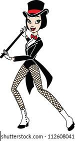 Girl Cabaret dancer cartoon