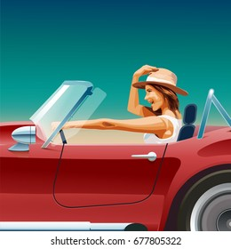 girl in a cabriolet, convertible