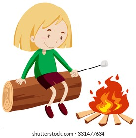 Girl at the campfire illustration