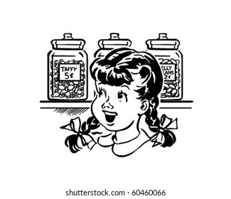 Girl In Candy Store - Retro Clip Art