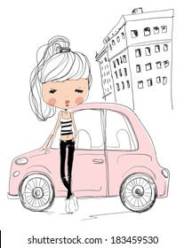 girl with car