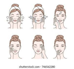 Girl cares about her face. Different facial cleaning procedures.  Vector illustration.