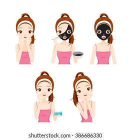 Girl Cares And Protects Her Face With Various Actions Set, Treatment, Beauty, Cosmetic, Makeup, Healthy, Lifestyle