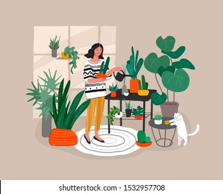 Girl caring for house plants in urban home garden with cat. Daily life and everyday routine scene by young woman in scandinavian style cozy interior with homeplants. Cartoon vector illustration.