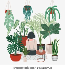 Girl caring for plants. Greenhouse, plants growing in pots. Crazy plant lady. Watering a home garden. Beautiful girl take care of plants. Illustration of house plants and flowers in pots