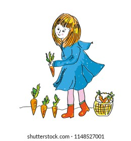 Girl and carrot harvest - cute illlustration for the gardening. Vector graphic