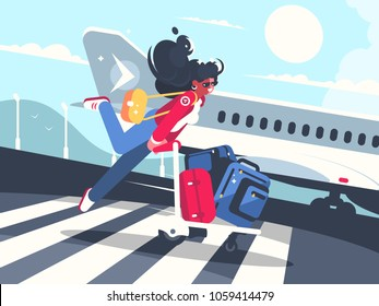 Girl carrying baggage on trolleys for flight. Air transportation service. Vector illustration