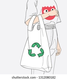 The girl is carrying a cloth bag. To reduce the amount of plastic bags to reduce global warming while shopping in department stores.Doodle art concept,illustration painting