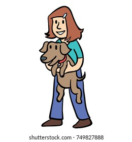 girl carrying a dog