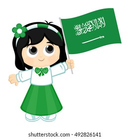 Girl carrying Saudi Arabia Flag