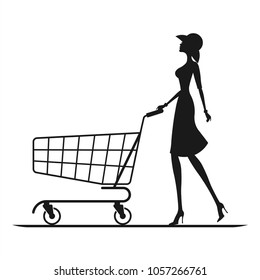 The girl with a cart. Vector illustration of lady in salwar suit with shopping cart.