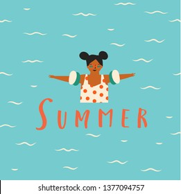 Girl cartoon character learning how to swim. Summertime illustration with text quote summer.