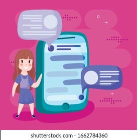 girl cartoon with smartphone and bubbles design, Social media multimedia communication digital marketing internet web and connect theme Vector illustration