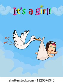 8afc77e6d8c It s a girl cartoon vector illustration with stork bringing cute baby  wearing pilot hat on blue