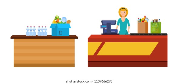 Girl cashier staff behind counter of cash register, pierce goods. Box and packages with fruits, vegetable, drinks. Shopping, in mall, supermarket, shopping center, store, magazin. Vector illustration.