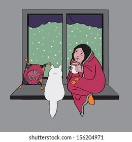 Girl and cat sitting at window cute scene for your design