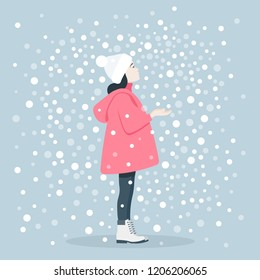 The girl catches snowflakes. Winter Games. Christmas Holidays. Vector flat illustration
