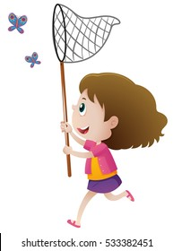 Girl catching butterflies with net illustration