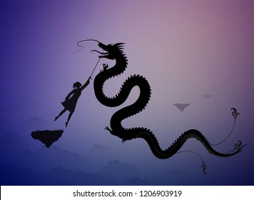girl catching the fairy dragon and holding it on the thread, scene from the fairytale in the dreamland,  vector,