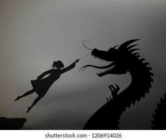 girl catching the fairy dragon and holding it on the thread, scene from the fairytale in the dreamland,  black and whitel, shadows, vector,