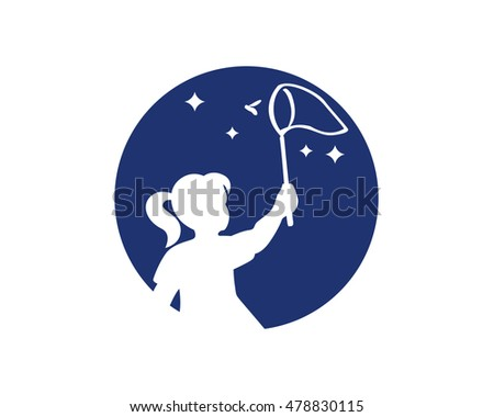 Girl Catching Fireflies Night Stock Vector Royalty Free 478830115