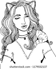 Girl with cat's ears. Beautiful girl ideal for coloring.