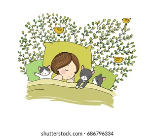 Girl and cats sleep in bed.Good night. Sweet dreams. Vector illustration. bed time. Isolated objects on white background.