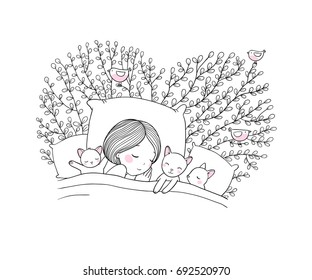Girl and cats sleep in bed.Good night. Sweet dreams. Vector illustration. bed time. Isolated objects on white background. Birds on branches with leaves.