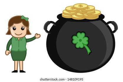 Girl with Cauldron on St. Patrick's Day - Cartoon Business Characters
