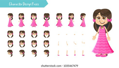 Girl character creation set. Icons with different types of faces head kid clothing style, emotions, front, rear, side view of male person. Moving arms, legs.