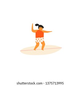 Girl character studying surfing illustration in vector. Summer fun card or poster