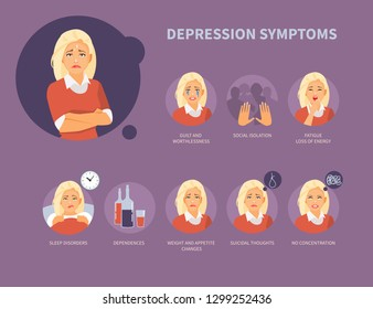 Girl character with symptoms of depression. Vector illustration
