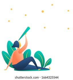Girl character with a telescope looks at the stars. Isolated element for web design, postcards, post. Modern organic life with nature, a young character. Flat style, vector.