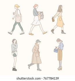 girl characters walking down the street in a stylish fashion. hand drawn style vector doodle design illustrations.