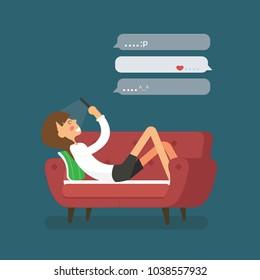Girl chatting smart phone with boyfriend - Flat Design