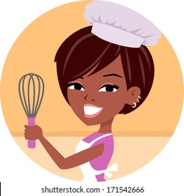 Girl With Chef Hat Baking