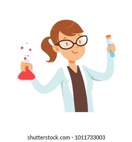 Girl chemist character, female scientist in white coat holding test flask vector Illustration