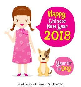 Girl In Cheongsam With Dog, Chinese New Year, Year Of The Dog, Traditional Celebration, China, Spring Festival, Animal