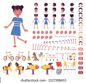 Girl child 7, 9 year old, school age black kid construction set, active schoolgirl in summer wear, fun and activities creation elements to build own design. Cartoon flat style infographic illustration