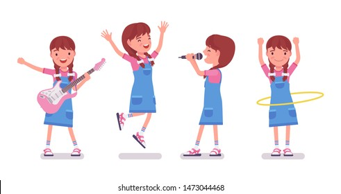 Girl child 7-9 years old, female school age kid entertainment. Happy schoolgirl has pleasure, delight with singing, guitar playing. Vector flat style cartoon illustration isolated, white background