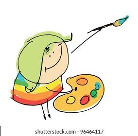 girl child happy artist painting - cartoon people vector illustration set